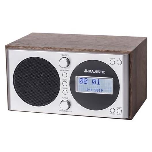 Majestic WR-162 DAB Radiosveglia DAB/DAB+/FM display LCD colore legno