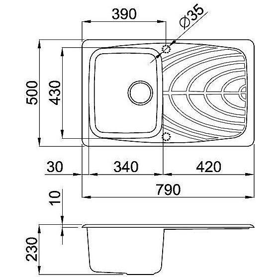 master 300 avena elleci lavello 79x50 granitek 1 vasche + g.