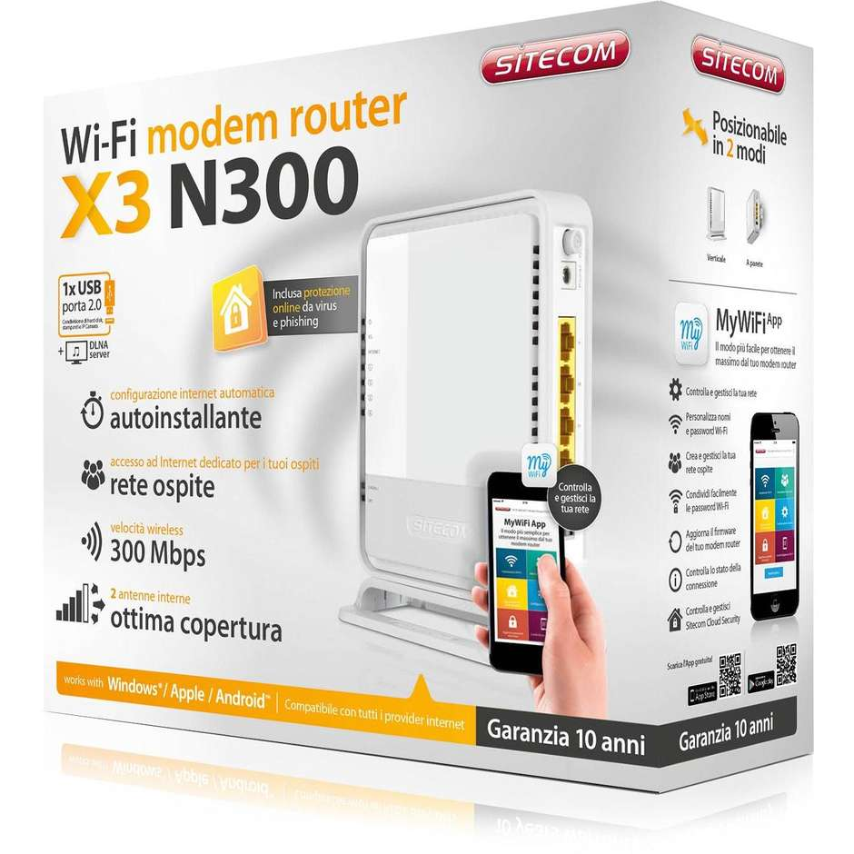 modem router n300 wifi x3 usb+cloud security