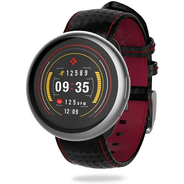 MyKronoz ZeRound2 HR Premium Smartwatch touchscreen Bluetooth con cardiofrequenzimetro colore nero e rosso