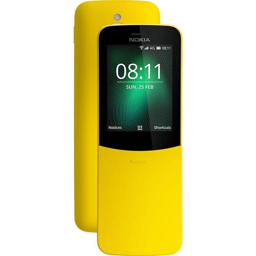 """Nokia 8110 4G telefono cellulare 2,4"""" dual sim fotocamera 2 Mpx RAM 512 Mb colore giallo"""