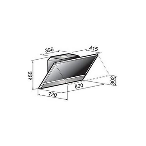 open 80 cm ix vetro nero tecnowind cappa