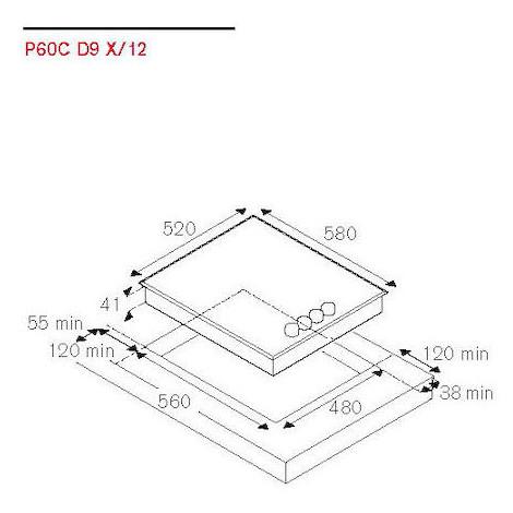 P60C D9 X/12 La Germania piano cottura elettrico 4 zone cottura vetroceramica