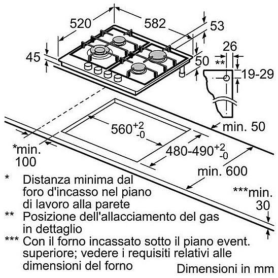 pch-615b80e piano cottura gas 60cm 4 fuochi con griglia