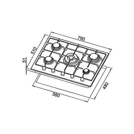 pgss75351cng elleci piano cottura style 75 cm 5 fuochi a gas (tcc) ae/vs avena 51