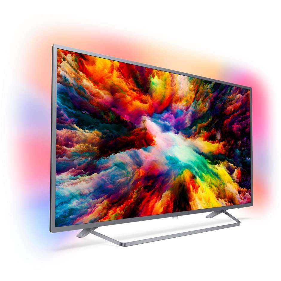 "Philips 55PUS7303/12 Tv LED 55"" 4K Ultra HD Ambilight Smart Tv Android Tv classe A+ colore argento"