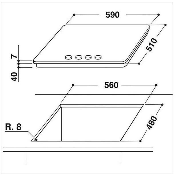 Piano cottura GMR6442/IXL 4 fuochi inox