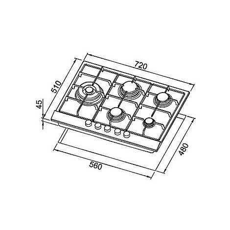 pias752inls elleci piano cottura style 75 cm 5 fuochi a gas (tcl) ae/vs inox