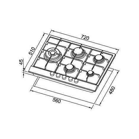 pias752inlsg elleci piano cottura style 75 cm 5 fuochi a gas (tcl) ae/vs inox