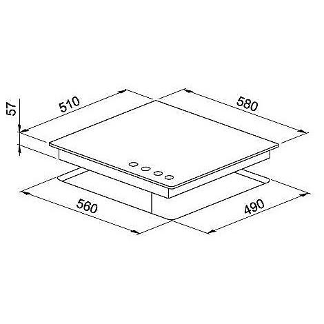 pmcm60173wa elleci piano cottura modern 60 cm 4 fuochi a gas (tcw) ae/vs titanium 73