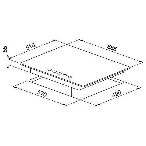 pmcm70173ca elleci piano cottura modern 70 cm 5 fuochi a gas (tcc) ae/vs gg titanium 73