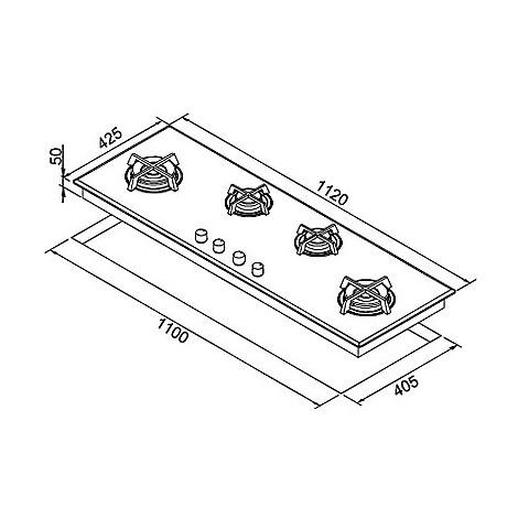 pmcq120179ds elleci piano cottura quadro 120 cm 4 fuochi a gas ae/vs aluminium 79