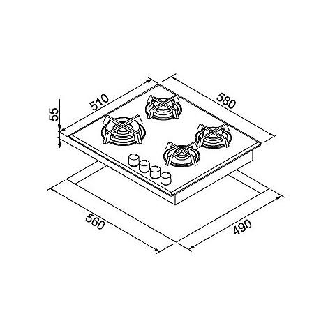 pmcq60173ws elleci piano cottura quadro 60 cm 4 fuochi a gas (tcw) ae/vs titanium 73