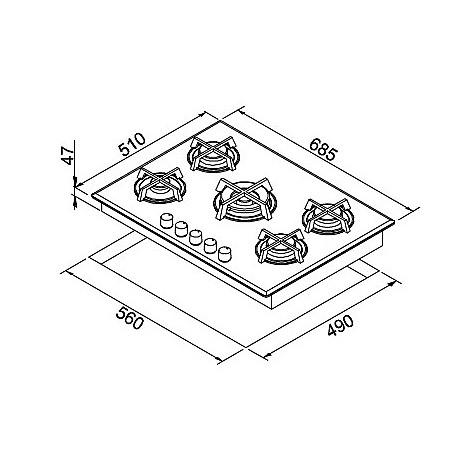 pmcq70179cs elleci piano cottura quadro 70 cm 5 fuochi a gas (tcc) ae/vs aluminium 79