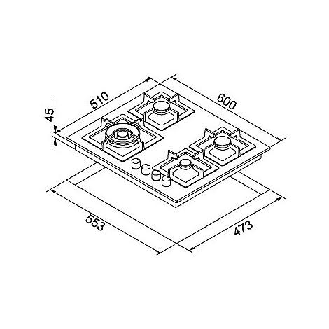 pmsp60173ws elleci piano cottura plano 60 cm 4 fuochi a gas (tcw) ae/vs titanium 73