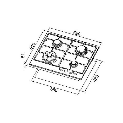 pmss60273wsg elleci piano cottura style 60 cm 4 fuochi a gas (tcw) ae/vs titanium 73