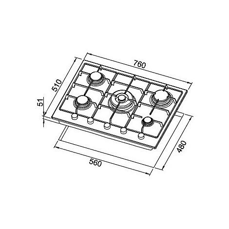 pmss75373csg elleci piano cottura style 75 cm 5 fuochi a gas (tcc) ae/vs titanium 73