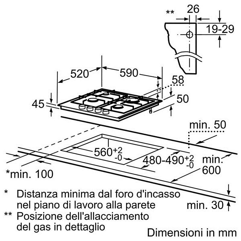 Ppp 616b11e bosch piano cottura da 60 cm 4 fuochi a gas in for Misure piano cottura 4 fuochi