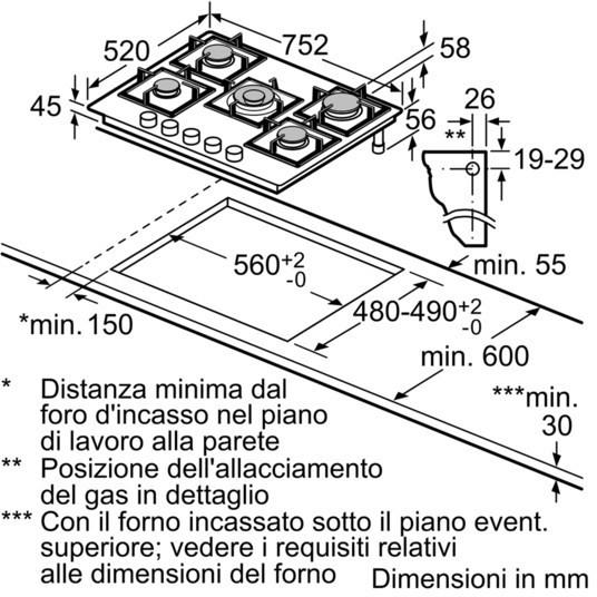 Ppq7a6b10 Bosch Piano Cottura A Gas Da Incasso 75 Cm 5 Fuochi