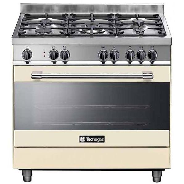 pt 999crs tecnogas cucina da 90 cm 5 fuochi a gas forno elettrico crema