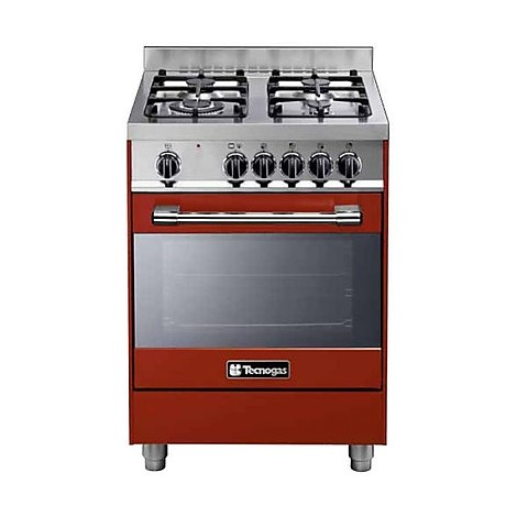 ptv-662rs tecnogas cucina da 60 cm 4 fuochi a gas forno a gas rossa