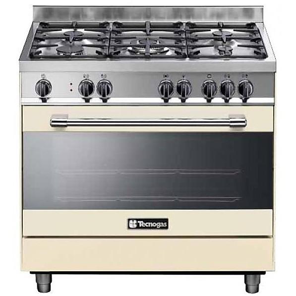 ptv-998crs tecnogas cucina da 90 cm 5 fuochi a gas forno a gas crema