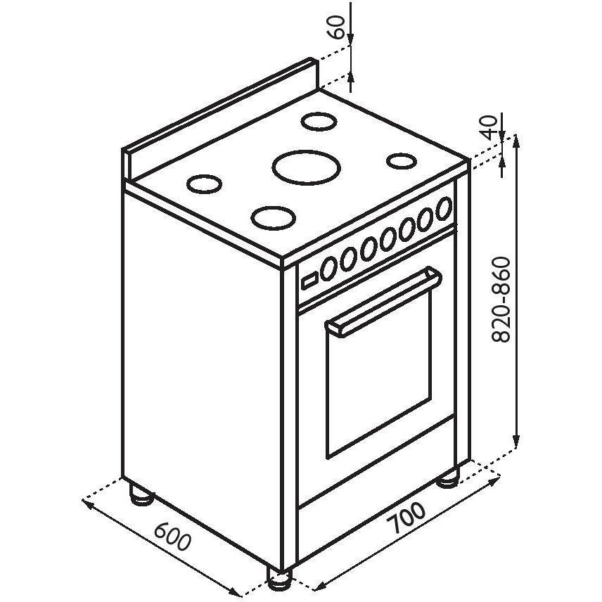 PTV762XS Tecnogas cucina 70x60 5 fuochi a gas forno a gas ...