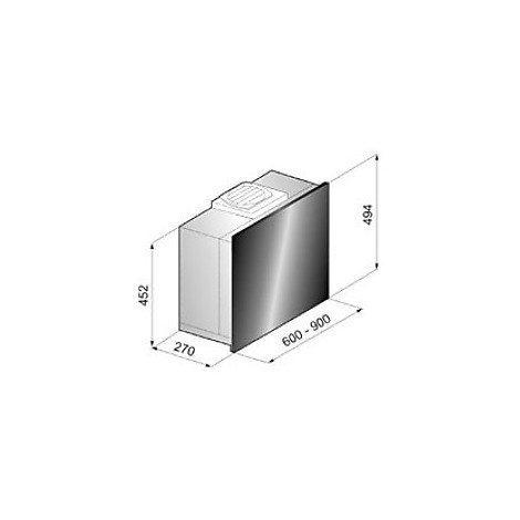 revolution 90 cm ix vetro nero tecnowind cappa