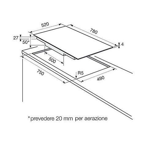 Rex/Electrolux KTI8500E piano cottura a induzione 80 cm 4 zone ...