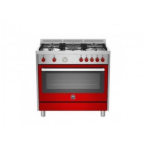 ris-95c61cxr la germania cucina 90x60 5 fuochi con forno elettrico rosso