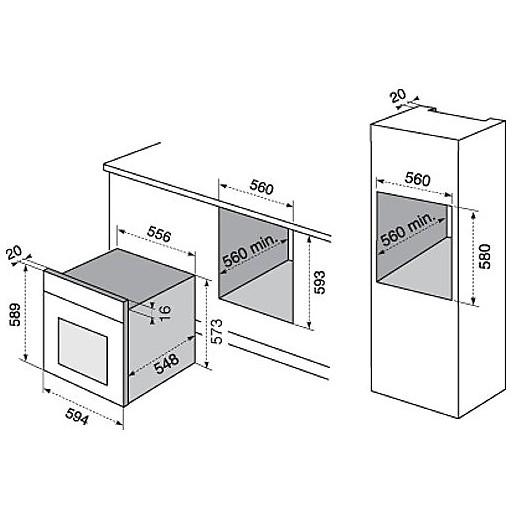 rob-2200aox rex electrolux forno classe a 68 litri inox