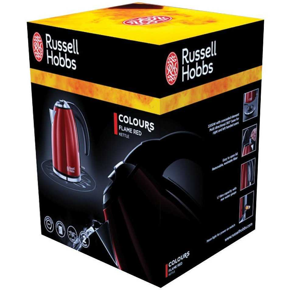 Rosso Russell Hobbs 20191-70 Colours Flame Red Bollitore Compatto