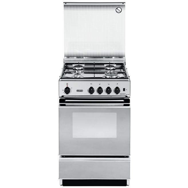 sex-554n cucina de longhi 50x50 4 fuochi a gas forno elettrico inox