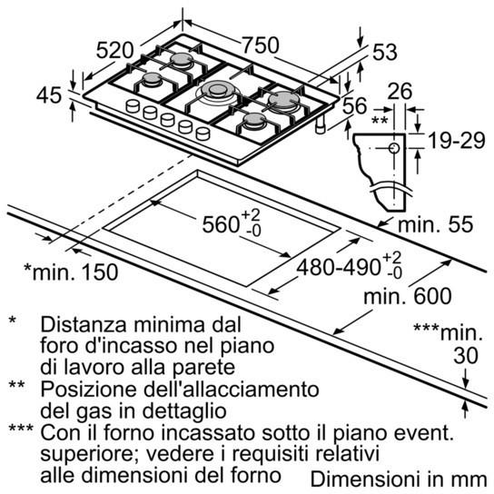 Siemens EC7A5QB90 piano cottura a gas 75 cm 5 fuochi griglie in ghisa colore inox