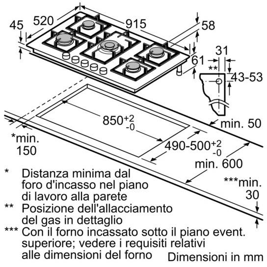 Siemens EP9A6QB90 piano cottura a gas 90 cm 5 fuochi colore nero ...
