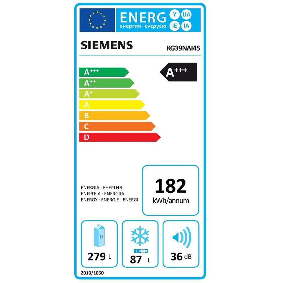 Siemens KG39NAI45 frigorifero combinato 366 litri classe A+++ No Frost inox