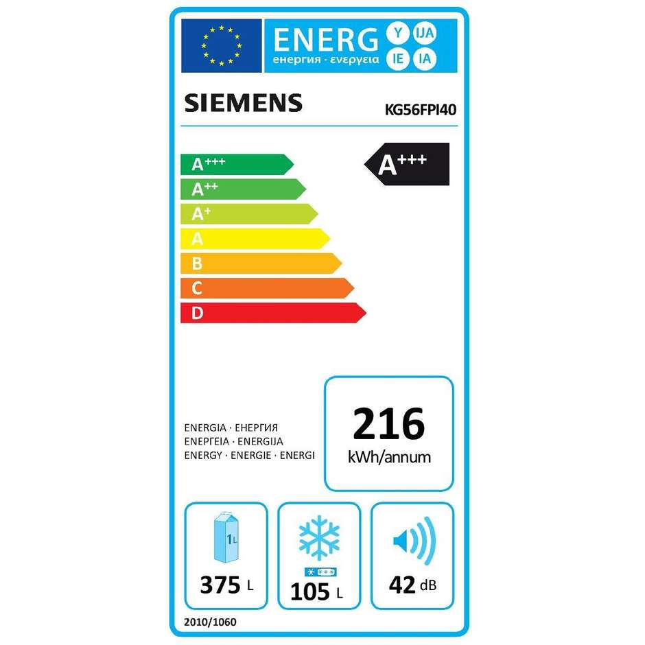 Siemens KG56FPI40 frigorifero combinato 480 litri classe A+++ Total No Frost inox