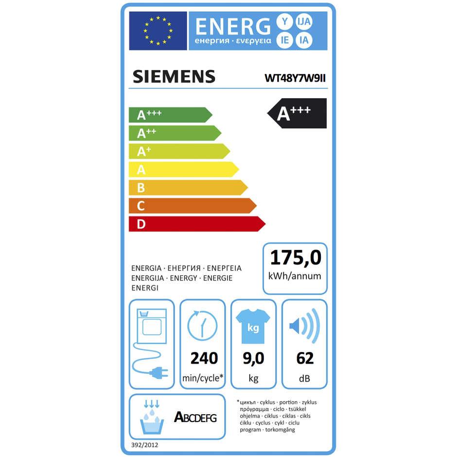Siemens wt48y7w9ii asciugatrice a condensazione con pompa for Siemens asciugatrice