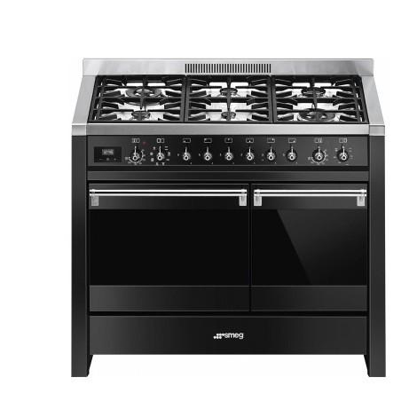 Smeg A2BL-81 cucina 100x60 6 fuochi a gas doppio forno 96 litri classi A e B colore nero