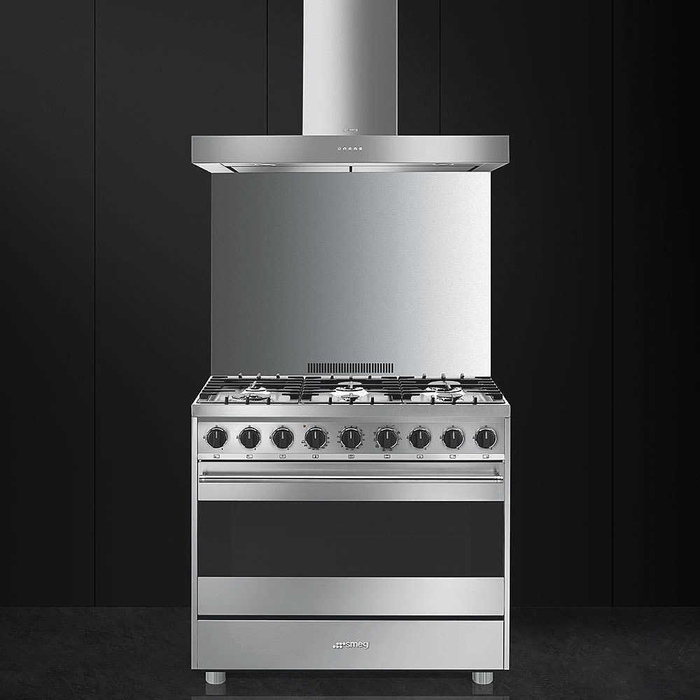 Smeg b9gmxi9 cucina 6 fuochi a gas forno elettrico multifunzione 115 litri classe a inox - Smeg cucina gas ...