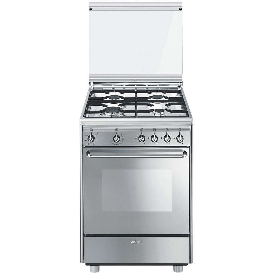 Smeg cx51sv cucina 60x50 4 fuochi a gas forno elettrico ventilato 55 litri classe a colore inox - Cucina con forno a gas ventilato ...