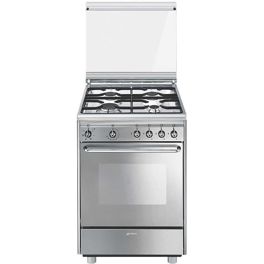 Smeg CX51SV cucina 60x50 4 fuochi a gas forno elettrico ventilato 55 ...