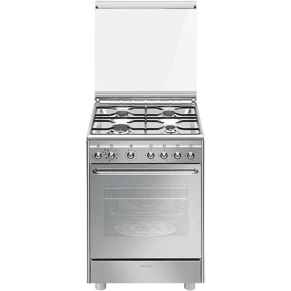 Smeg cx60svpz9 cucina 60x60 4 fuochi a gas forno elettrico 65 litri classe a colore inox - Cucina a gas smeg ...