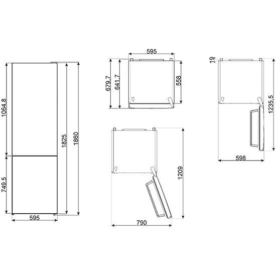 Smeg FC182PSN frigorifero combinato 324 litri classe A++ No Frost colore argento
