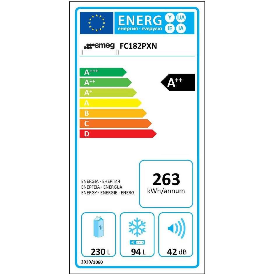 Smeg FC182PXN frigorifero combinato 324 litri classe A++ No Frost colore inox