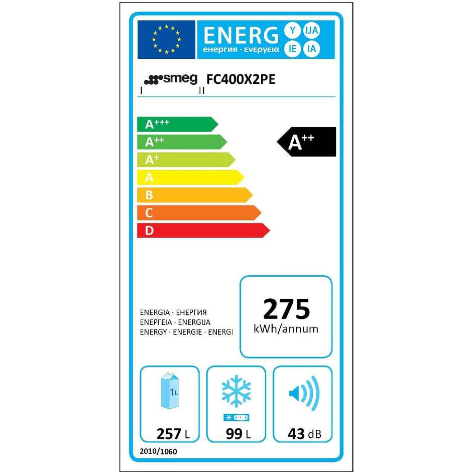 Smeg FC400X2PE frigorifero combinato 356 litri classe A++ Total No Frost colore inox