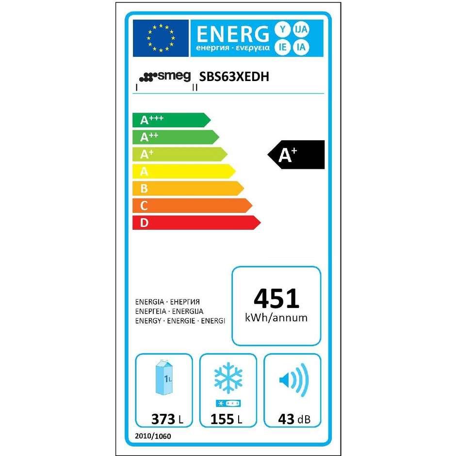 Smeg SBS63XEDH frigorifero side by side 544 litri classe A+ Total No Frost colore inox