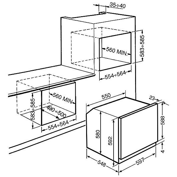 Smeg sf465x forno elettrico ventilato da incasso 61 litri - Forno ventilato da incasso ...
