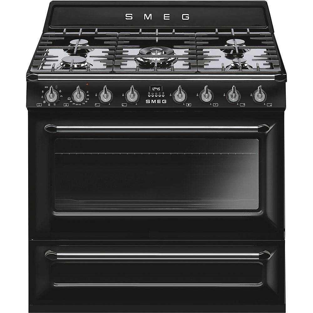 Smeg tr90bl9 cucina 90x60 5 fuochi a gas forno termoventilato 115 litri classe a colore nero - Cucina a gas 5 fuochi ...