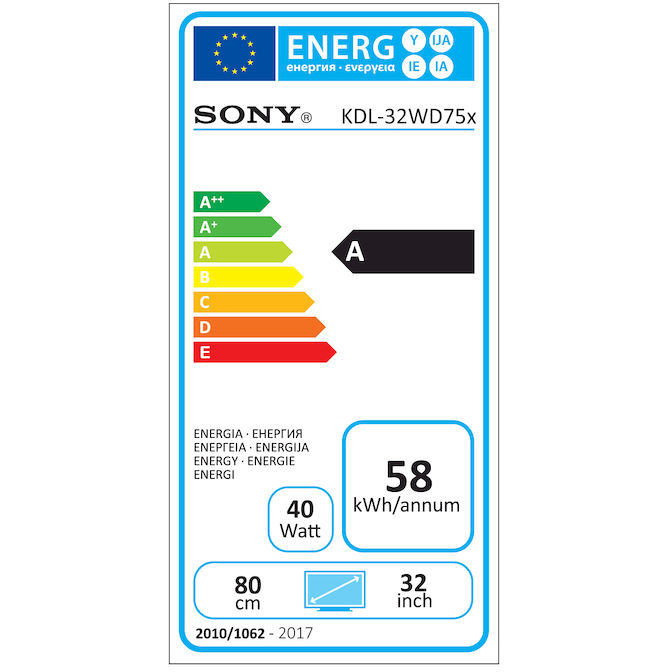 "Sony KDL32WD753BAEP Tv LED 32"" Full HD Smart Tv classe A Wifi nero"